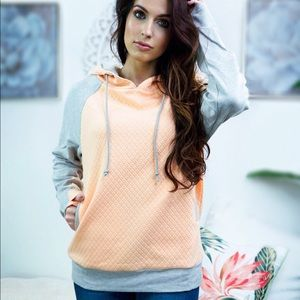 ONLY 2 LEFT! Thick neon peach and grey hoodie